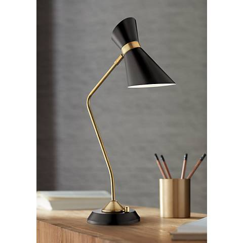 Lite Source Jared Black and Antique Brass Desk Lamp