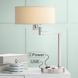 Landon Nickel Accent Table Lamp with Outlet and USB Port