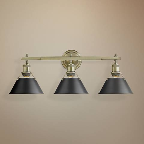 "Orwell 24 1/4""W Aged Brass 3-Light Bath Light w/ Black Shade"