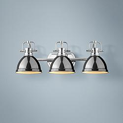 "Duncan 24 1/2""W Chrome 3-Light Bath Light with Black Shades"