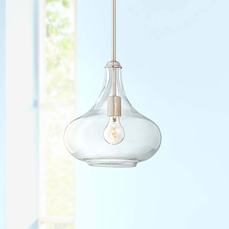 "Possini Euro Belford 11"" Wide Brushed Nickel Mini Pendant"