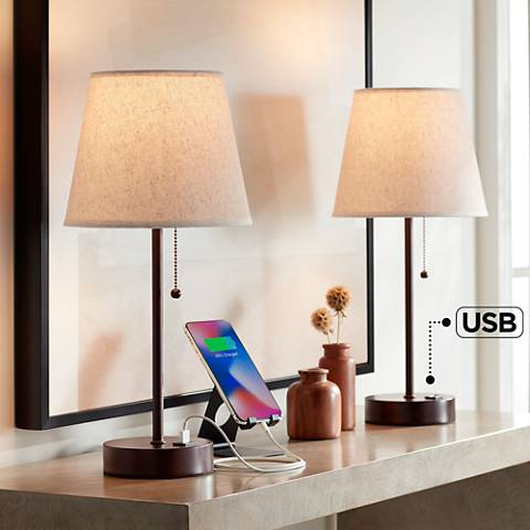 Justin Bronze Table Lamp With USB Port Set of 2