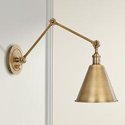 Robert Abbey Alloy Warm Brass Plug-In Swing Arm Wall Lamp