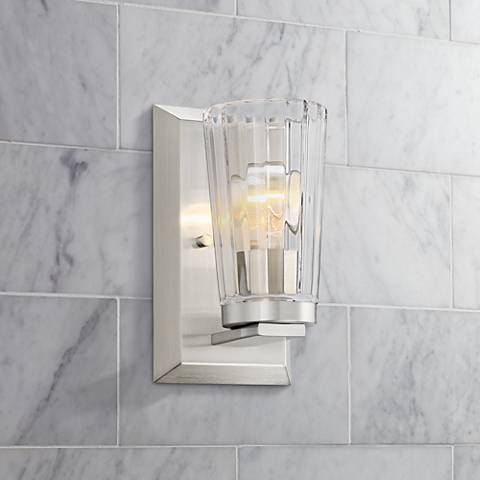 "Possini Euro Porter 8 3/4"" High Beveled Glass Wall Sconce"