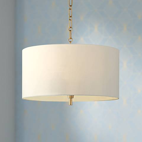 "20"" Wide Warm Gold Pendant Light with White Shade"
