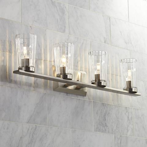 "Porter 32 1/4"" Wide Beveled Glass 4-Light Bath Light"
