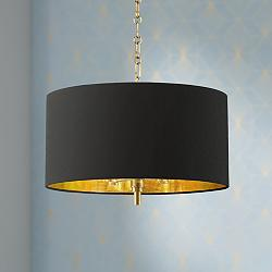 "20"" Wide Warm Gold Pendant Light With Black Shade"