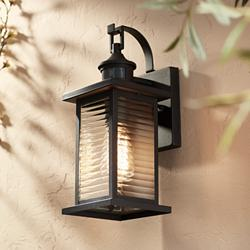 "Cameron 13 3/4"" High Black Motion Sensor Outdoor Wall Light"