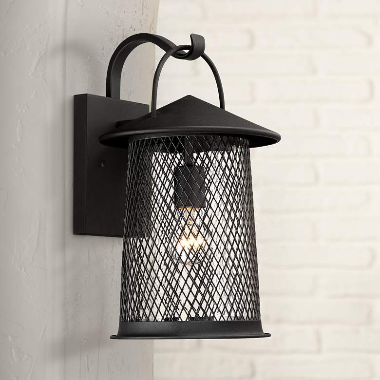"Serrington 15 1/2"" High Black Mesh Outdoor Wall Light"