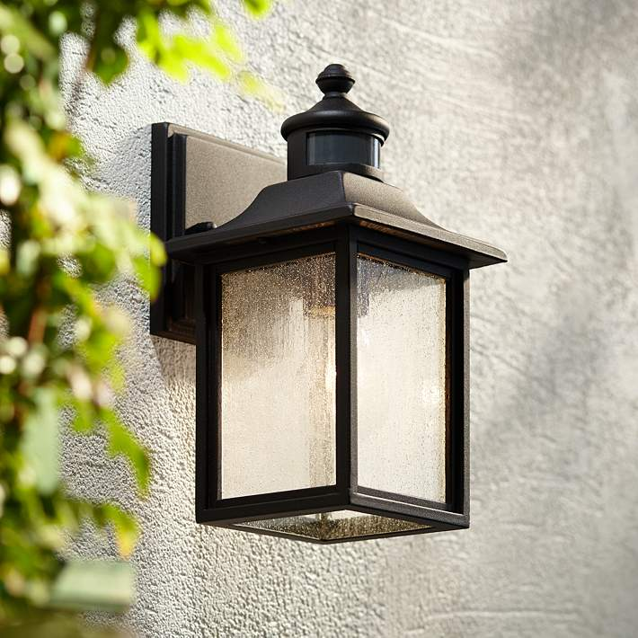 Black Motion Sensor Outdoor Wall Light