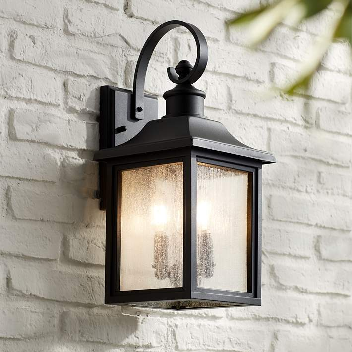 Moray Bay 17 3 4 High Black 3 Light Outdoor Wall Light 42f26 Lamps Plus
