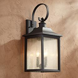"Moray Bay 24"" High Black 3-Light Outdoor Wall Light"