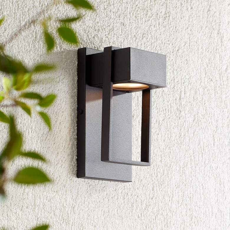 "Pavel 9 1/2"" High Textured Black LED Outdoor Wall Light"