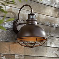 "Norton 14"" High Bronze Caged RLM Outdoor Wall Light"