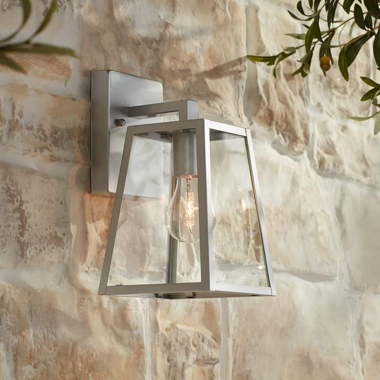 "Arrington 10 3/4"" High Glass and Silver Outdoor Wall Light"