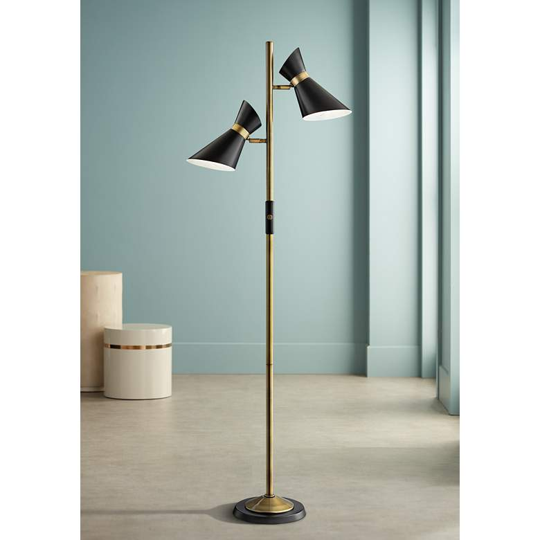 Lite Source Jared Black and Antique Brass 2-Light Floor Lamp