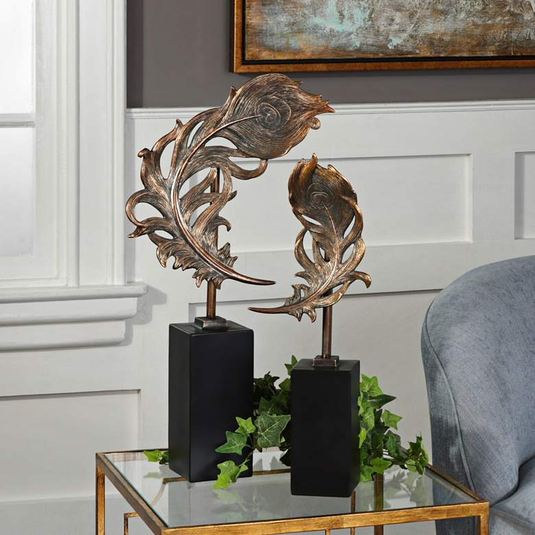 Uttermost Bronze Patina Quill Feathers Sculpture Set of