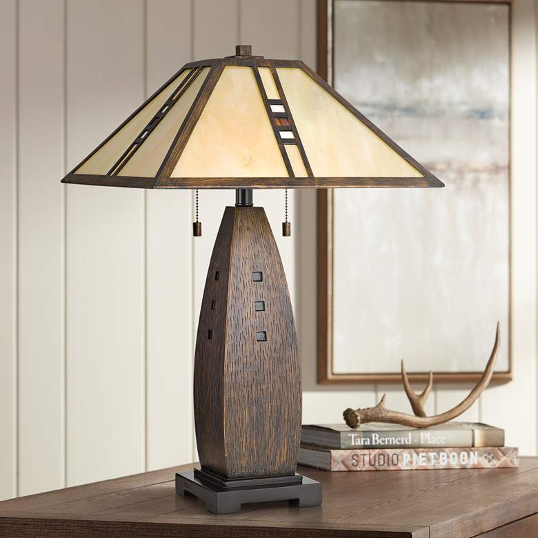 Quoizel Fulton Bronze Tiffany Shade Table Lamp