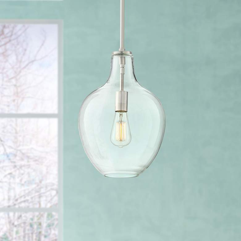 "Keegan 10 1/2"" Wide Brushed Nickel Mini Pendant"