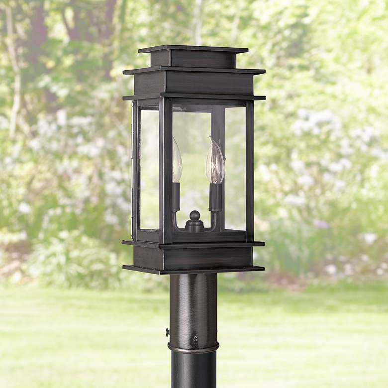 "Princeton 16 3/4"" High Vintage Pewter Outdoor Post Light"