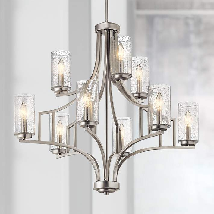 Wide Brushed Nickel 9 Light Chandelier