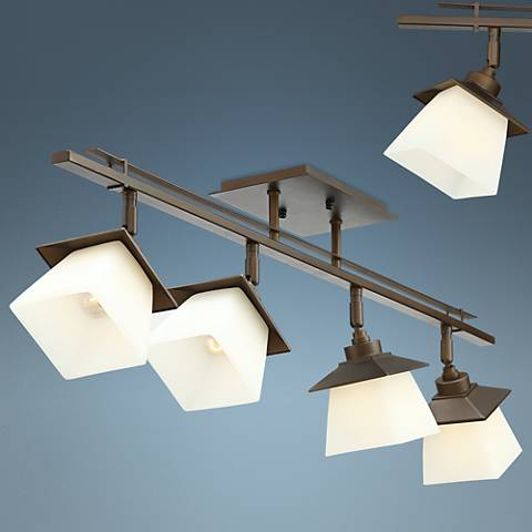 Pro Track Mission 4-Light Bronze Frosted Glass Fixture