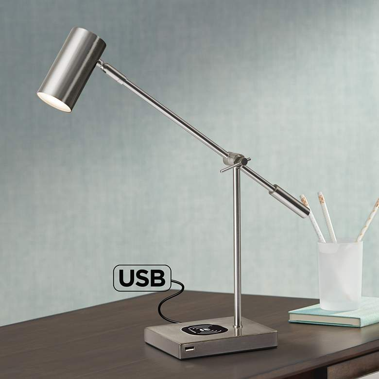 Collette Brushed Steel Charge LED Desk Lamp with
