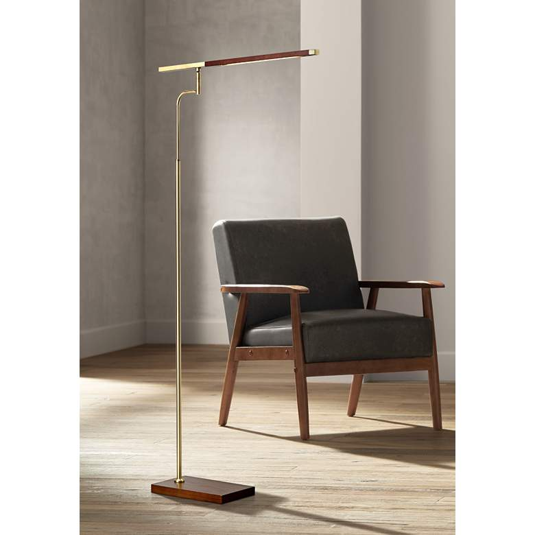 Barrett Walnut and Brass Adjustable Modern LED Floor