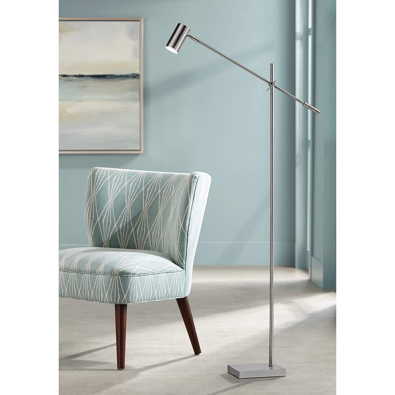 Collette Brushed Steel Adjustable Modern LED Floor Lamp