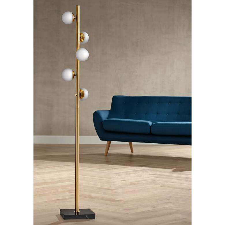 Doppler Antique Brass LED Tree Floor Lamp