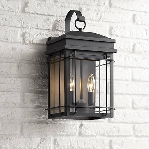 "Rotherfield 17"" High Textured Black Outdoor Wall Light"