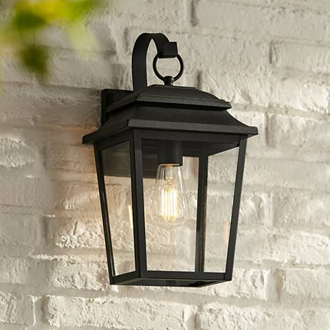 "Bellis Verde 15 1/4"" High Textured Black Outdoor Wall Light"