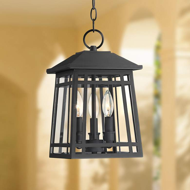 "East Ridge 13 1/2"" High Black Caged Outdoor Hanging Light"