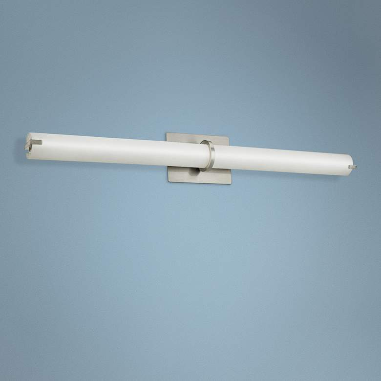 "Squire 26 1/4"" Wide Brushed Nickel Round LED Bath Light"