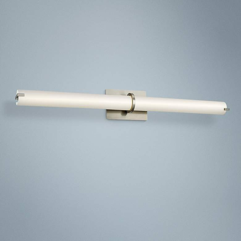 "Squire 38"" Wide Brushed Nickel Round LED Bath Light"