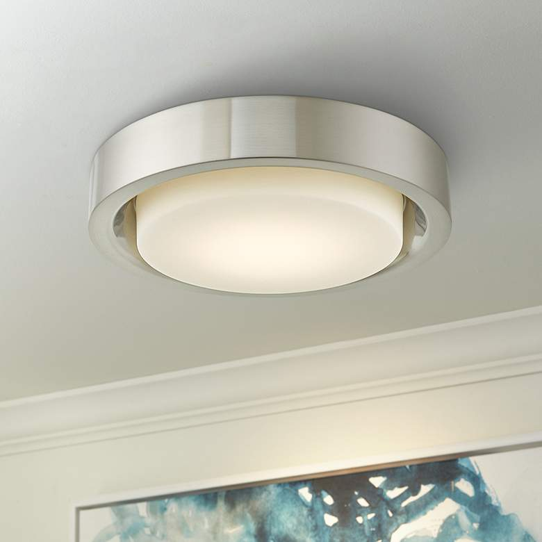 "Eclipse 16"" Wide Brushed Nickel LED Ceiling Light"