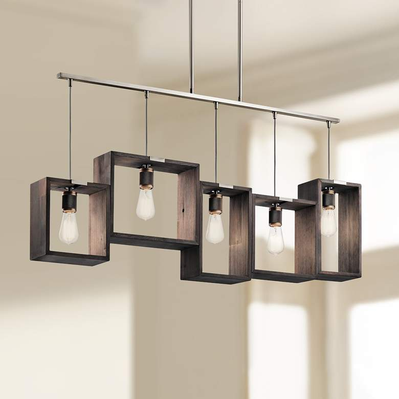 "Industrial Frames 44 1/2"" Wide Pewter Kitchen Island Pendant"