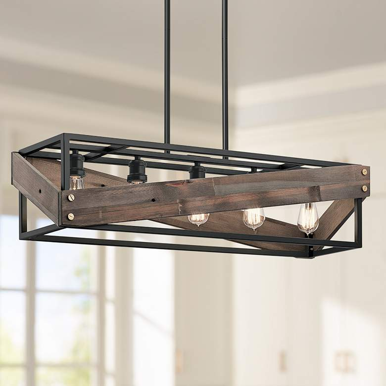 "Kichler Fulton Cross 36 3/4""W Black 5-Light Island"