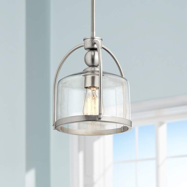 "Kichler Omerta 9 1/2"" Wide Brushed Nickel Mini Pendant"