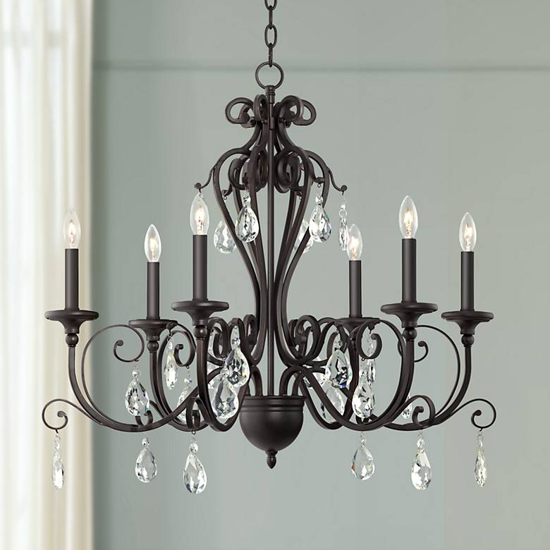 "Charlottesville 30"" Wide Antique Bronze 6-Light Chandelier"