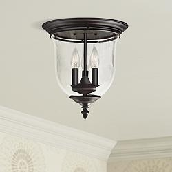 "Legacy 11 1/2""W Bronze and Glass 3-Light Ceiling Light"