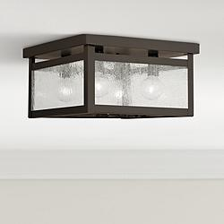 "Milford 11""W Bronze and Seeded Glass 4-Light Ceiling Light"