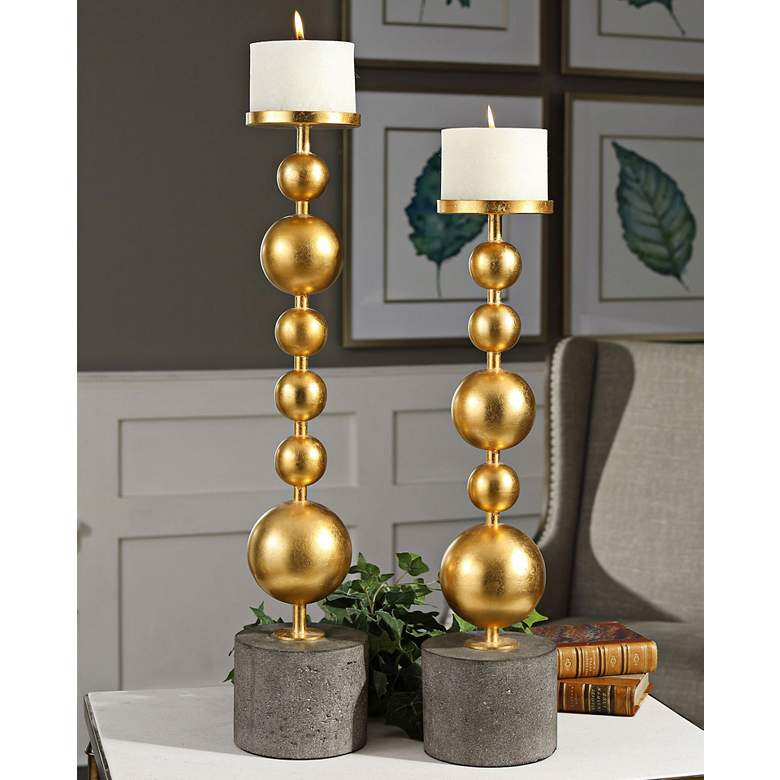 Selim Metallic Gold Leaf Modern Candle Holders Set of 2