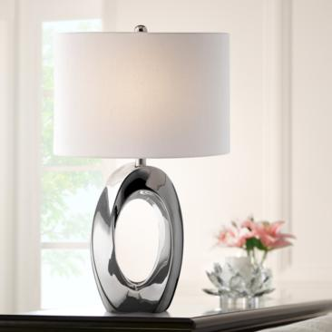 Lite Source Clover Chrome Ceramic Table Lamp