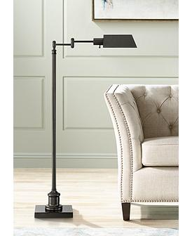 Jenson Dark Bronze Adjustable Pharmacy Floor Lamp