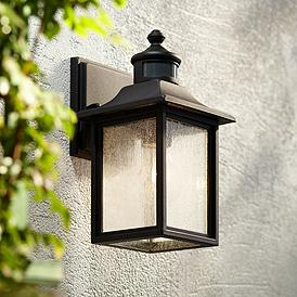 Moray Bay 11 1 2 H Black Motion Sensor Outdoor Wall Light