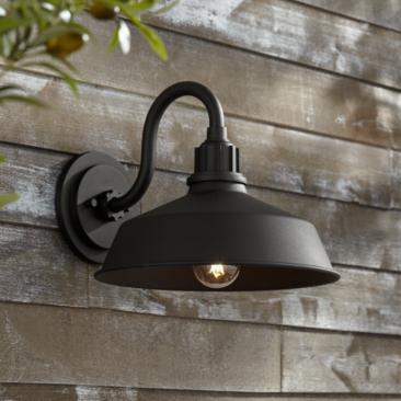 "Franklin Iron Works Arnett 10 1/2""H Black Outdoor Wall Light"