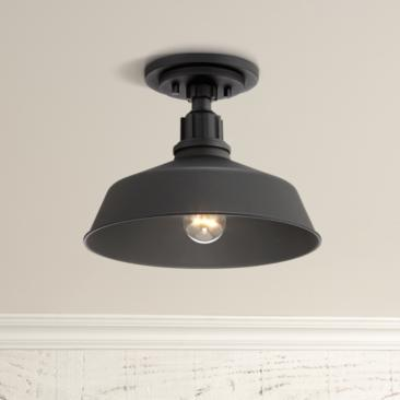 Franklin Iron Works Arnett Black Outdoor Ceiling Light