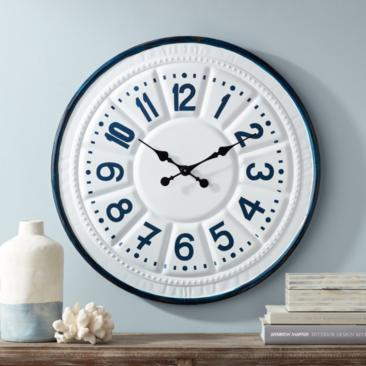 "Country Store 27"" Blue and White Round Wall Clock"