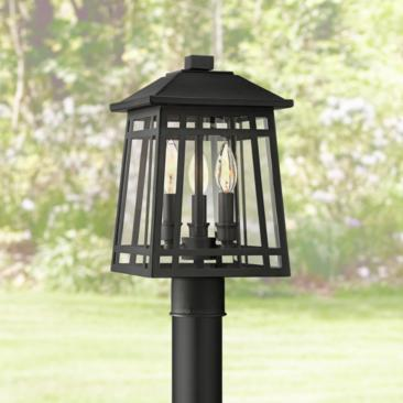 "East Ridge 15"" High Black Caged 3-Light Outdoor Post Light"